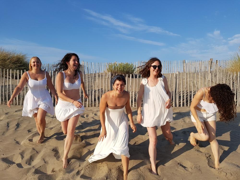 5 goddesses on the beach